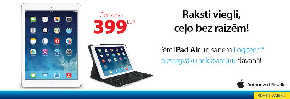 Pērc iPad Air un dāvanā saņem aizsargapvalku ar klaviatūru