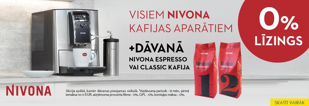 Bezprocentu līzings Nivona espresso kafijas automātiem