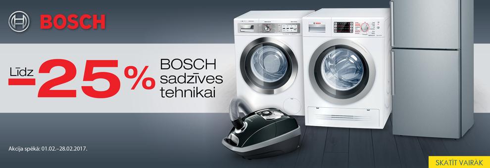 Bosch sadzīves tehnikai atlaides līdz 25% (cenas spēkā līdz 28.02.2017)