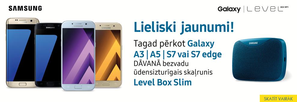 Pērkot Samsung Galaxy A3, A5, S7, S7 edge DĀVANĀ skaļrunis Level box slim.