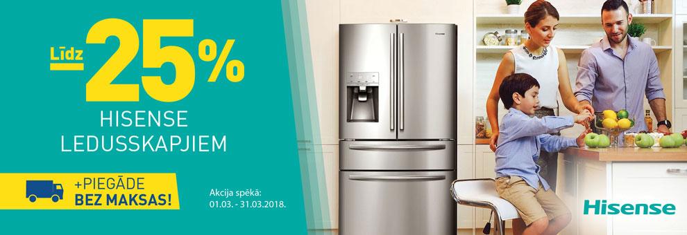 Līdz 25% Hisense ledusskapjiem + Bezmaksas piegāde