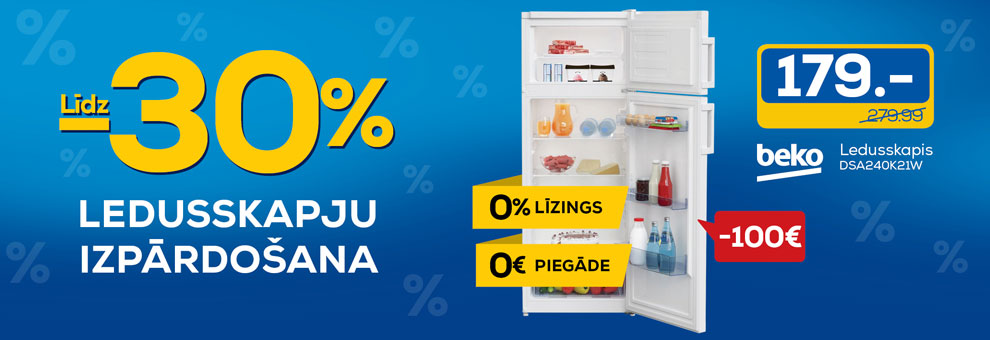 Līdz 30% ledusskapju izpārdošana
