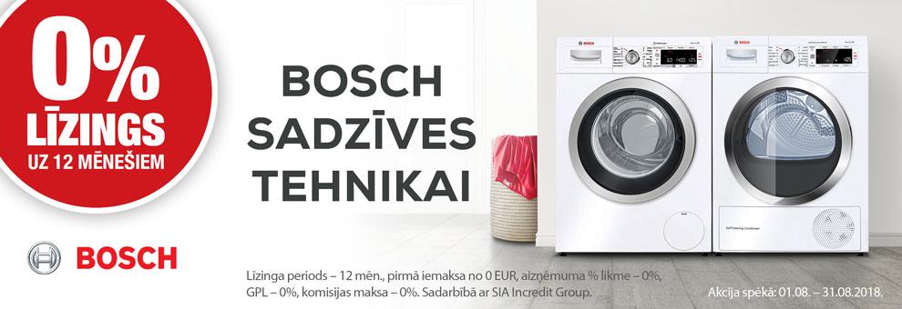 0% līzings uz 12 mēnešiem Bosch sadzīves tehnikai