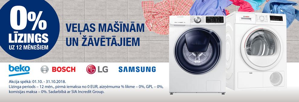 0% līzings uz 12 mēnešiem veļas mašīnām un veļas žāvētājiem