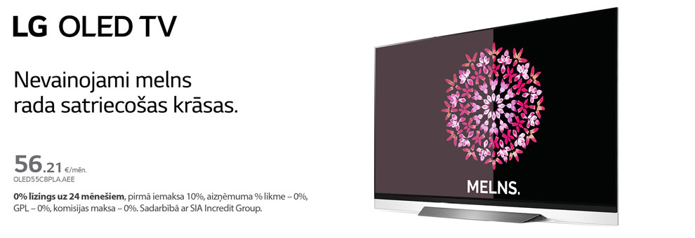 0% Līzings uz 24 mēnešiem LG OLED televizoriem