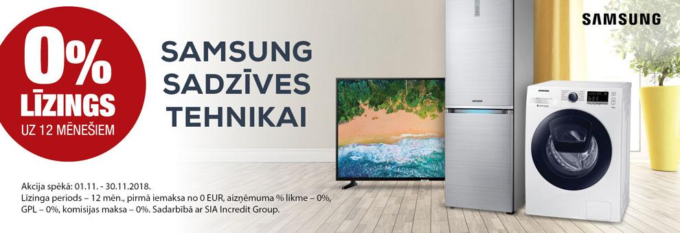 0% līzings uz 12 mēnešiem Samsung sadzīves tehnikai