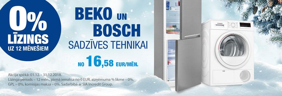 0% Līzings uz 12 mēnešiem Bosch un Beko lielajai sadzīves tehnikai