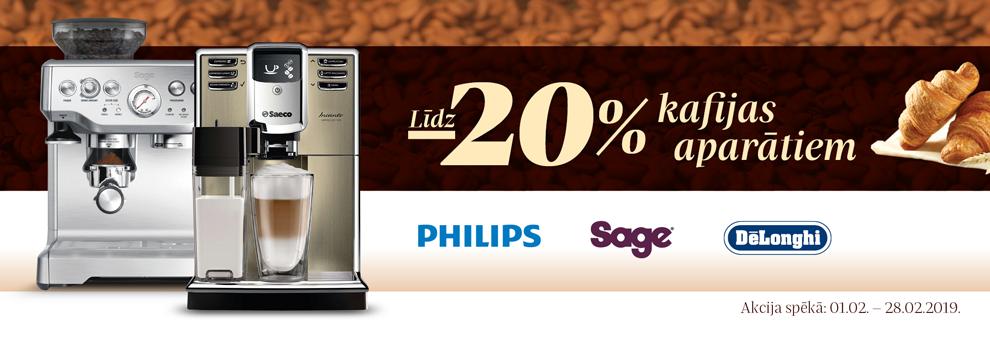 Līdz 20% kafijas aparātiem