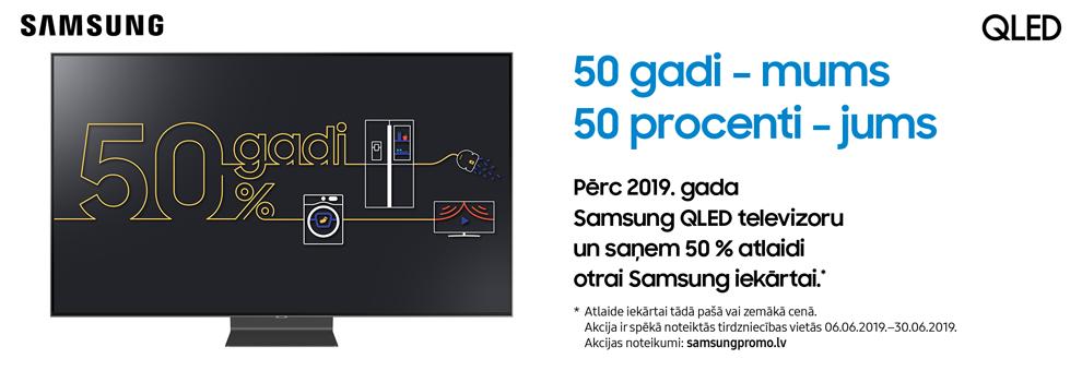 Pērc 2019. gada Samsung QLED televizoru un saņem 50% atlaidi otrai Samsung iekārtai.