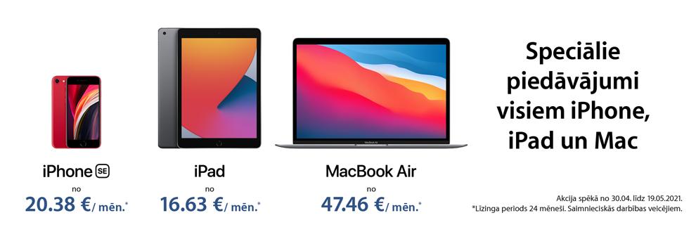 0% līzings uz 24 mēnešiem Apple iPhone, Mac un iPad