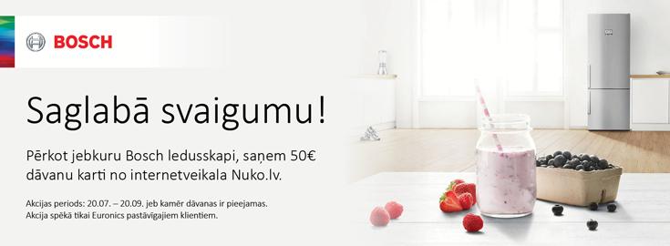 MP Pērkot jebkuru Bosch ledusskapi, saņem 50€ dāvanu karti no internetveikala Nuko.lv