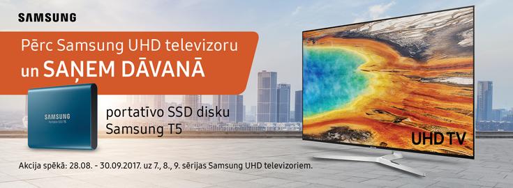 MP Pērc Samsung UHD televizoru un saņem dāvanā portatīvo SSD disku Samsung T5