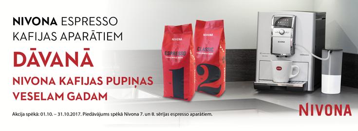 MP Nivona espresso kafijas aparātiem DĀVANĀ kafijas pupiņas veselam gadam