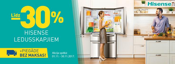 Līdz 30% Hisense ledusskapjiem + bezmaksas piegāde!