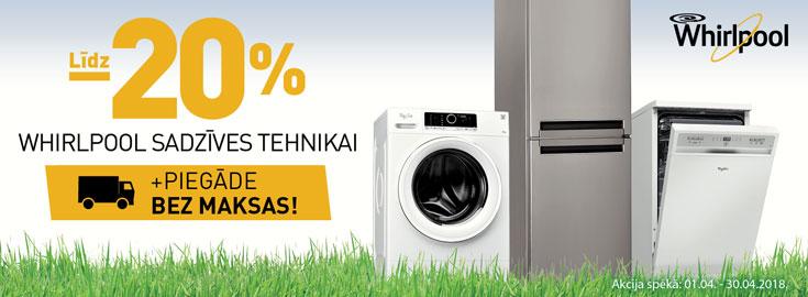 Līdz 20% Whirlpool sadzīves tehnikai + BEZMAKSAS piegāde visā Latvijā