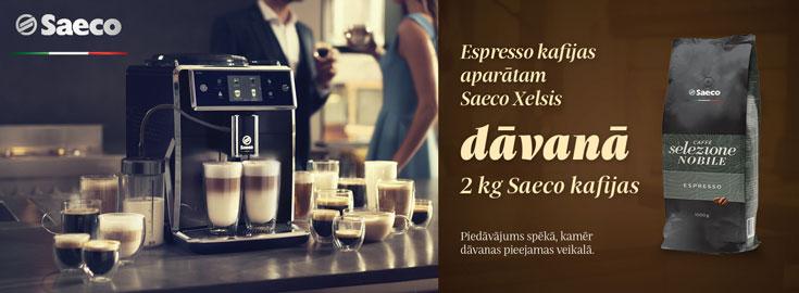 Pērkot Philips Saeco Xelsis kafijas aparātus, dāvanā 2kg kafijas paciņa