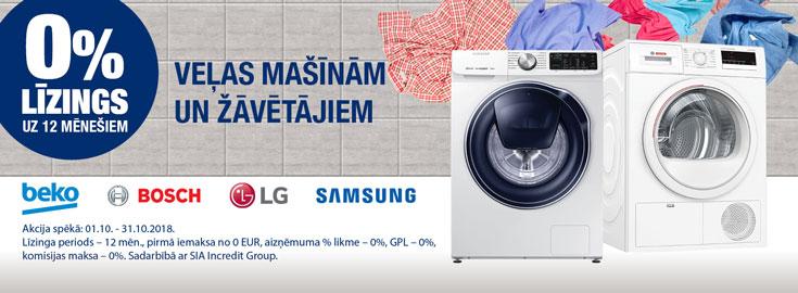 0% veļas mašīnām un veļas žāvētājiem
