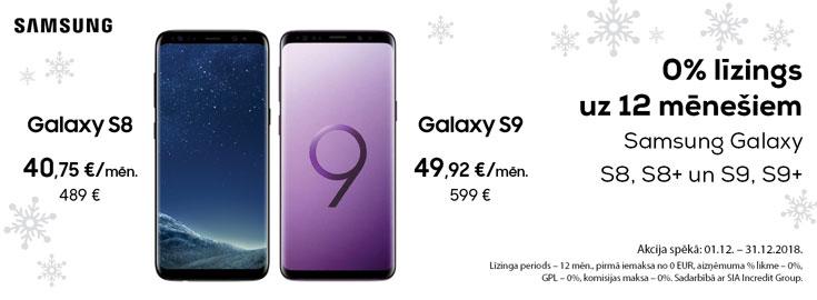 0% Līzings uz 12 mēnešiem Samsung Galaxy S8/S9 viedtālruņiem