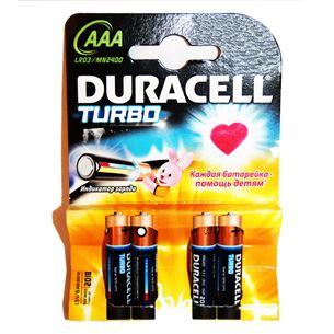 Alkaline baterijas Duracel Turbo / tips AAA, 4gab