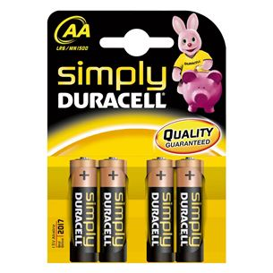 Baterijas Duracell MN 1500 Simply Power AA (LR6) 4gab