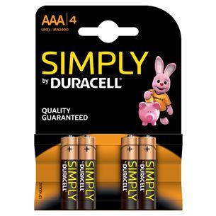 Baterijas Duracell MN 2400 Simply Power AAA (LR03) 4 gab
