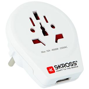 Ceļojuma adapteris World to Europe USB, Skross 175124