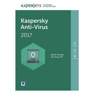 Kaspersky Antivirus 2017 atjaunošana 1PC / 1gads