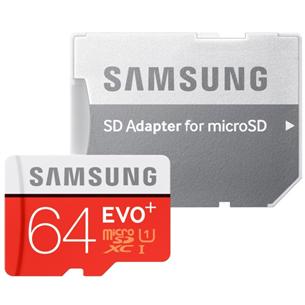 Atmiņas karte Micro SDXC EVO+, Samsung (64 GB) + adapteris