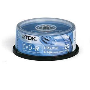 Diski DVD-R, TDK / 4,7GB / 25 gab