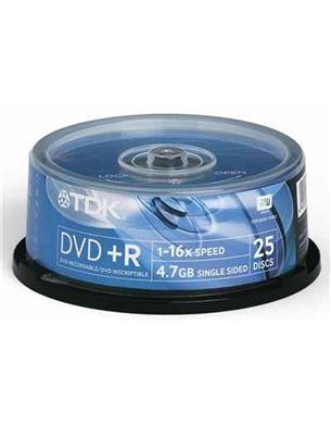 Diski DVD+R, TDK / 4,7GB / 25 gab