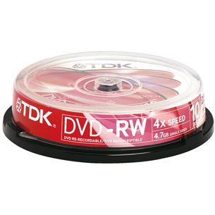 Diski DVD-RW, TDK / 4,7GB / 10 gab
