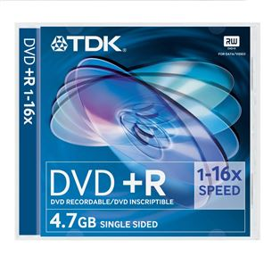 Diski DVD+R, TDK / 4,7GB / 1 gab