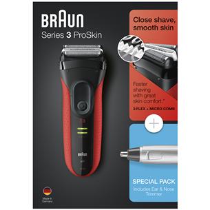 Skuveklis Series 3 ProSkin + deguna un ausu trimmeris, Braun