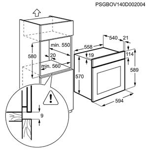 Iebūvējama elektriskā cepeškrāsns, Electrolux (57 L)