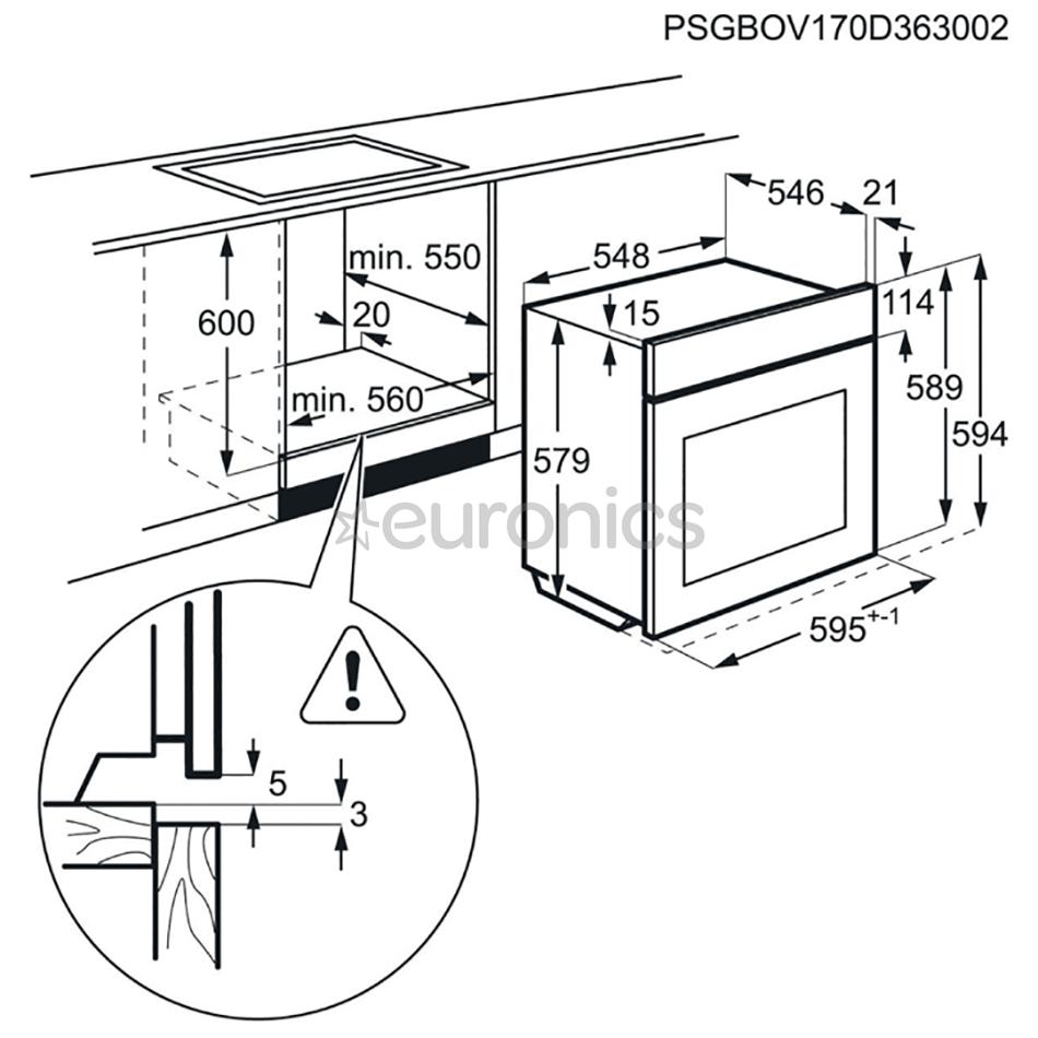 Iebūvējama elektriskā cepeškrāsns, AEG (70 L)