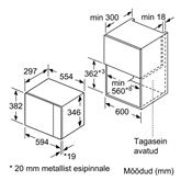 Iebūvējama mikroviļņu krāsns, Bosch / tilpums: 20 L