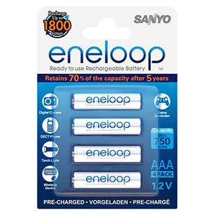 Lādējamās baterijas AAA, Sanyo / 750mAh / 4 gab