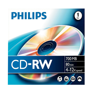 CD-RW diski Philips, 1 gab