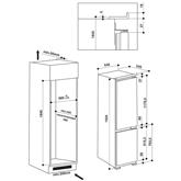 Iebūvējams ledusskapis, Whirlpool / augstums: 193,5 cm