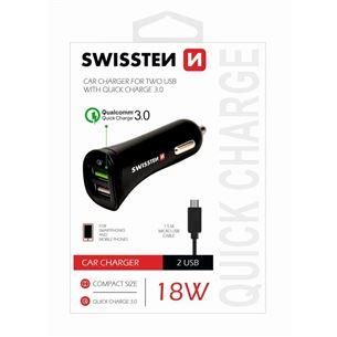 Auto lādētājs Quick Charge 3.0, Swissten