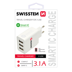 Travel Charger Smart IC, Swissten / 3.1A