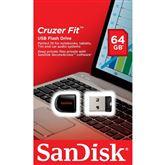 USB zibatmiņa Cruzer Fit, Sandisk / 64GB