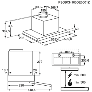 Iebūvējams tvaika nosūcējs, Electrolux / 600 m³/h