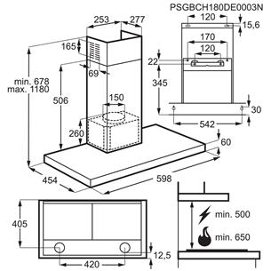 Tvaika nosūcējs, Electrolux / 720m³/h