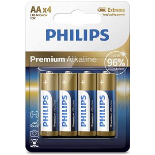 Baterijas LR6M AA 4 Premium Alkaline, Philips / 4gb