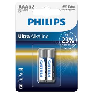 Baterijas LR03E AAA Ultra Alkaline, Philips / 2gb LR03E2B/10