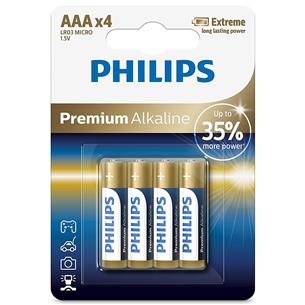 Baterijas LR03M AAA Premium Alkaline, Philips / 4gb LR03M4B/10