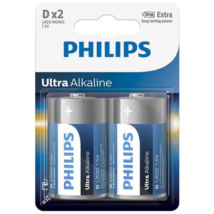 Baterijas LR20E D Ultra Alkaline, Philips / 2gb