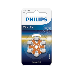 Baterijas ZA13 1.4 V 6 Zinc Air (PR48), Philips / 6gb