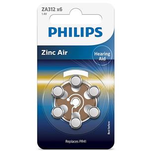 Baterijas ZA312 1.4 V Zinc Air (PR41), Philips / 6gb